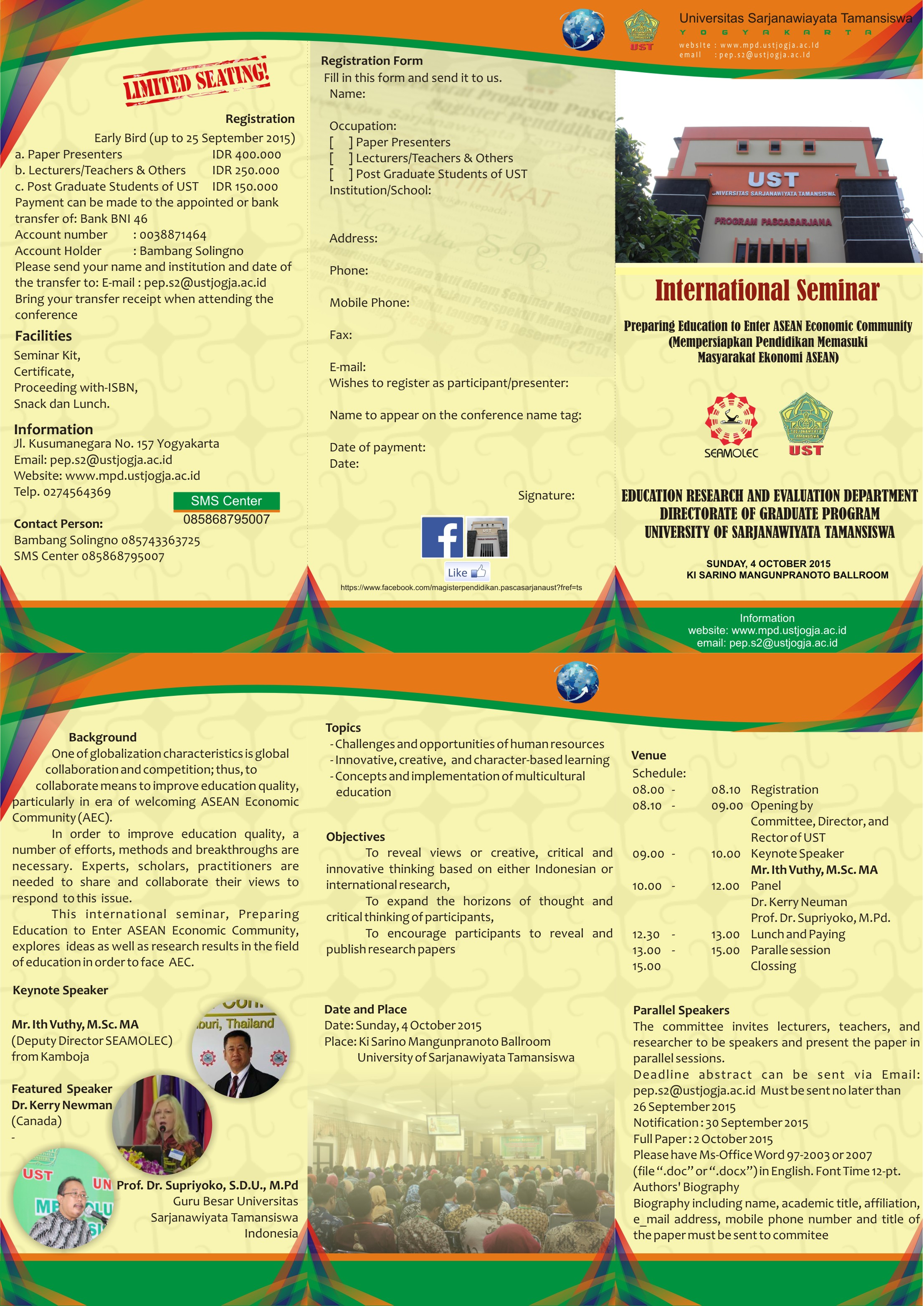 "Seminar Internasional ""Preparing Education to Enter ASEAN Economic Community"""